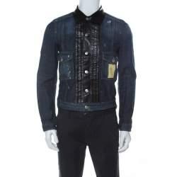Dsquared2 Blue Denim Distressed Detail Leather Trim Jacket M
