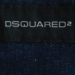 Dsquared2 Blue Denim Distressed Detail Horsehair Collar Vest Jacket M