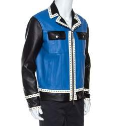 Dsquared2 Blue Leather Contrast Detail Studded Zip Front Jacket L