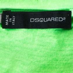 Dsquared2 Neon Green Logo Print Cotton T-Shirt M
