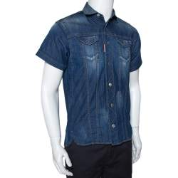 Dsquared2 Blue Denim Distressed Patch Detail Short Sleeve Shirt XS