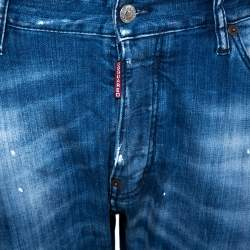 Dsquared2 Blue Distressed Denim Slim Fit Jeans L