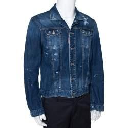 Dsquared2 Blue Distressed Light Wash Denim Fitted Jacket L