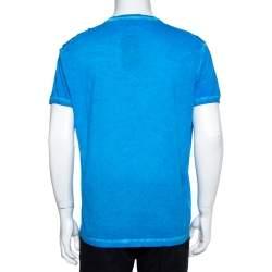 Dsquared2 Blue Cold Pigment Dyed Rainbow Print T-Shirt XXL