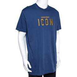Dsquared2 Blue Cotton Jersey Icon Embroidered T-Shirt 3XL