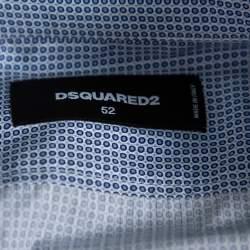 Dsquared2 Blue Printed Cotton Long Sleeve Shirt XL