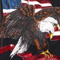 Dsquared2 Black Cotton Embellished Eagle Icon Sleeveless T Shirt L