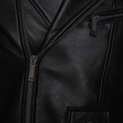 Dsquared2 Black Leather Quilted Panel Detail Zip Front Jacket M