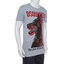 Dsquared2 Grey Cotton The Year of The Dog Print Long Cool Fit T-Shirt S