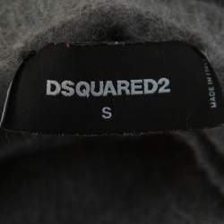 Dsquared2 Grey Wool Cell Block Printed Crewneck Sweater S