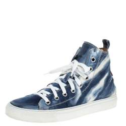 Dsquared2 Blue/White Denim Fabric High Top Sneakers Size 41.5