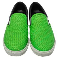 Dsquared2 Green/Black Woven Leather Slip On Sneakers Size 44