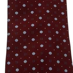 Dunhill Burgundy Geometric Printed Silk Traditional Tie