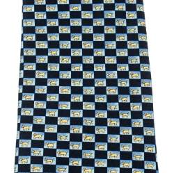 Dunhill Blue Animal Print Silk Checkered Traditional Tie