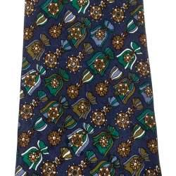 Dunhill Navy Blue Silk Medal Print Tie