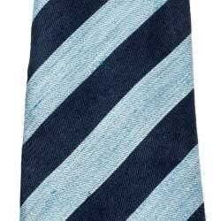 Dunhill Blue Silk Linen Striped Denim Pattern Tie