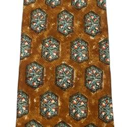 Dunhill Mustard Yellow Hexagon Printed Silk Traditional Tie
