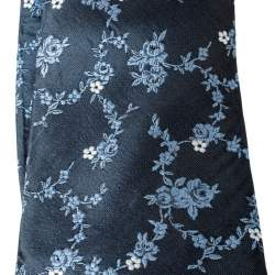 Dunhill Blue Floral Embroidered Raw Silk Tie