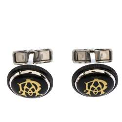 Dunhill Gear Logo Black Resin Stainless Steel Cufflinks