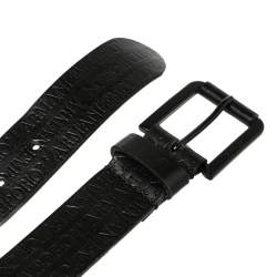 Emporio Armani Black Embossed Logo Leather Douglas Classic Belt 105CM