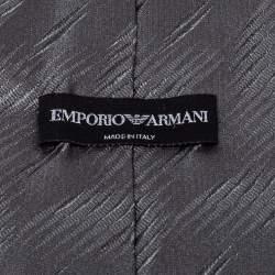 Emporio Armani Grey Textured Silk Traditional Tie
