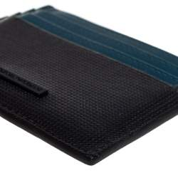 Emporio Armani Blue/Black Leather Card Holder