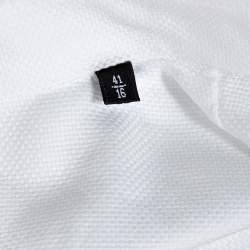 Emporio Armani White Cotton Jacquard Button Front Shirt L