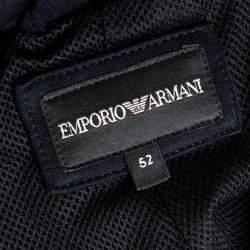 Emporio Armani Navy Blue Cotton Blend Notched Lapels Blazer XL