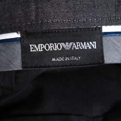 Emporio Armani Black Cotton and Cashmere Tailored Trousers XXXL