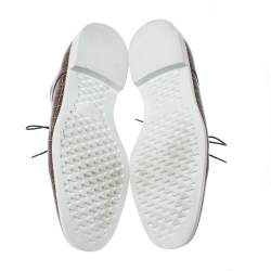 Emporio Armani Brown Croc Embossed Leather Lace Up Derby Size 44