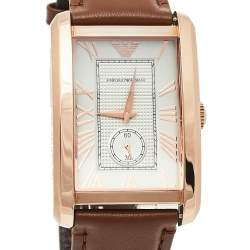 Emporio Armani Rose Gold Tone Stainless Steel Leather Classic AR1671 Men's Wristwatch 32 mm