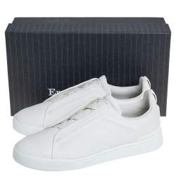 Ermenegildo Zegna White Leather Slip-On Sneakers Size 44