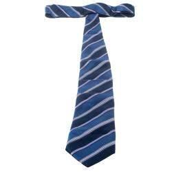 Ermenegildo Zegna Blue and Purple Striped Silk Tie
