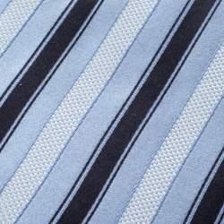 Ermenegildo Zegna Blue Diagonal Striped Silk Jacquard Traditional Tie