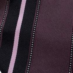 Ermenegildo Zegna Vintage Purple Diagonal Striped Silk Jacquard Tie