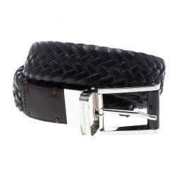 Ermenegildo Zegna Black Woven Leather Belt 110 CM