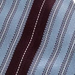 Ermenegildo Zegna Blue and Brown Diagonal Striped Silk Jacquard Tie