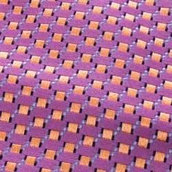 Ermenegildo Zegna Pink Geometric Pattern Silk Jacquard Traditional Tie