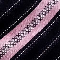 Ermenegildo Zegna Navy Blue and Pink Diagonal Striped Silk Jacquard Traditional Tie