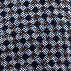 Ermenegildo Zegna Navy Blue Checkered Silk Jacquard Tie