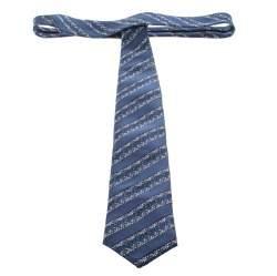 Ermenegildo Zegna Teal Striped Patterned Silk Jacquard Tie