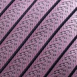 Ermenegildo Zegna Pink and Navy Blue Diagonal Striped Patterned Silk Jacquard Tie