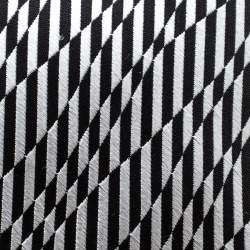 Ermenegildo Zegna Black and Grey Striped Patterned Silk Jacquard Tie