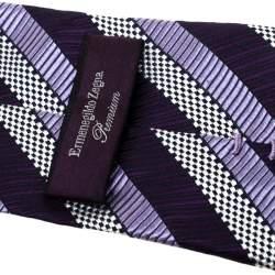 Ermenegildo Zegna Premium Purple Diagonal Striped Silk Jacquard Tie