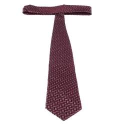 Ermenegildo Zegna Red Geometric Patterned Jacquard Silk Tie