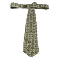 Ermenegildo Zegna Yellow Floral Jacquard Silk Tie