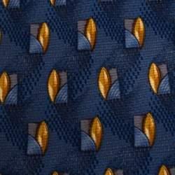 Ermenegildo Zegna Vintage Blue Abstract Print Silk Tie
