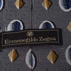 Ermenegildo Zegna Vintage Grey geometric Print & Jacquard Silk Tie