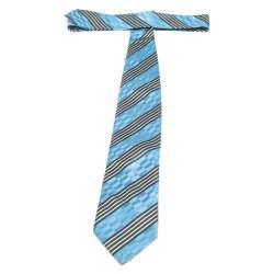 Ermenegildo Zegna Couture Blue Diagonal Striped Silk Jacquard Traditional Tie