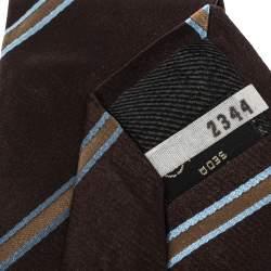 Ermenegildo Zegna Brown Diagonal Striped Traditional Silk Tie